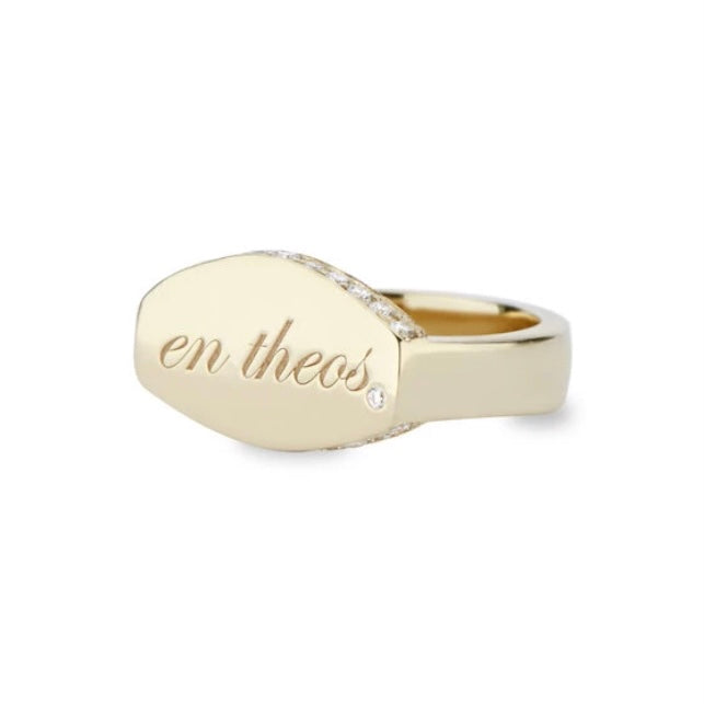 14k Gold & Diamond En Theos Signet Ring