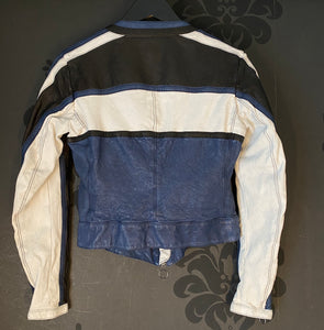 Artico Navy Leather Motorcycle Jacket