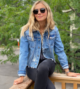 GRLFRND Cropped Distressed Denim Jacket