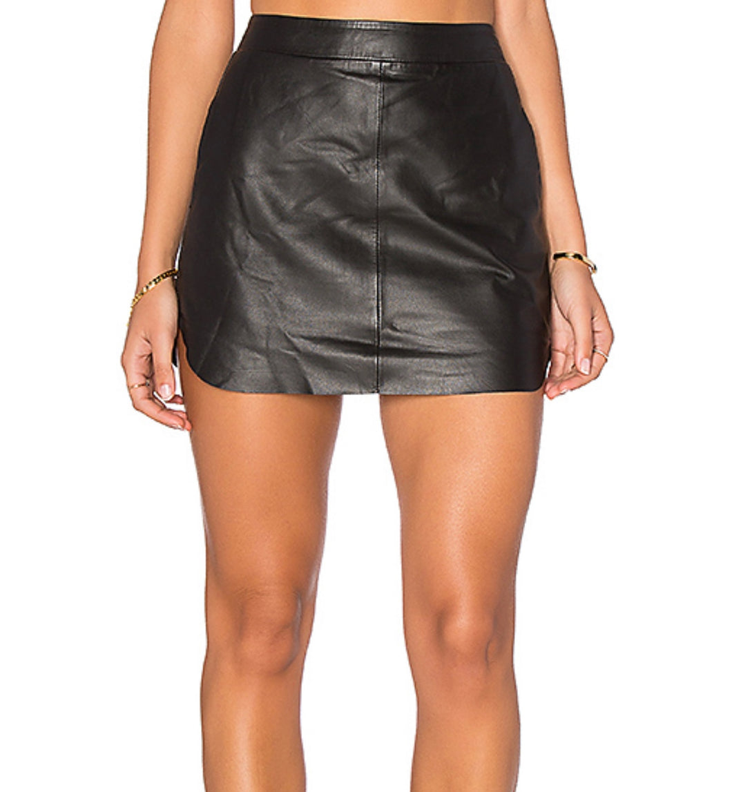 Karina Grimaldi Leather Mini Skirt