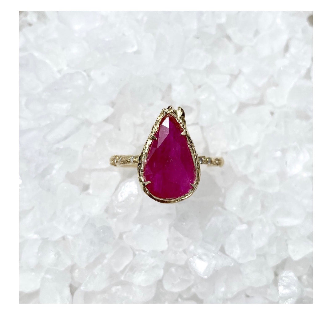 Elisabeth Bell 14k Gold Ruby & Diamond Ring