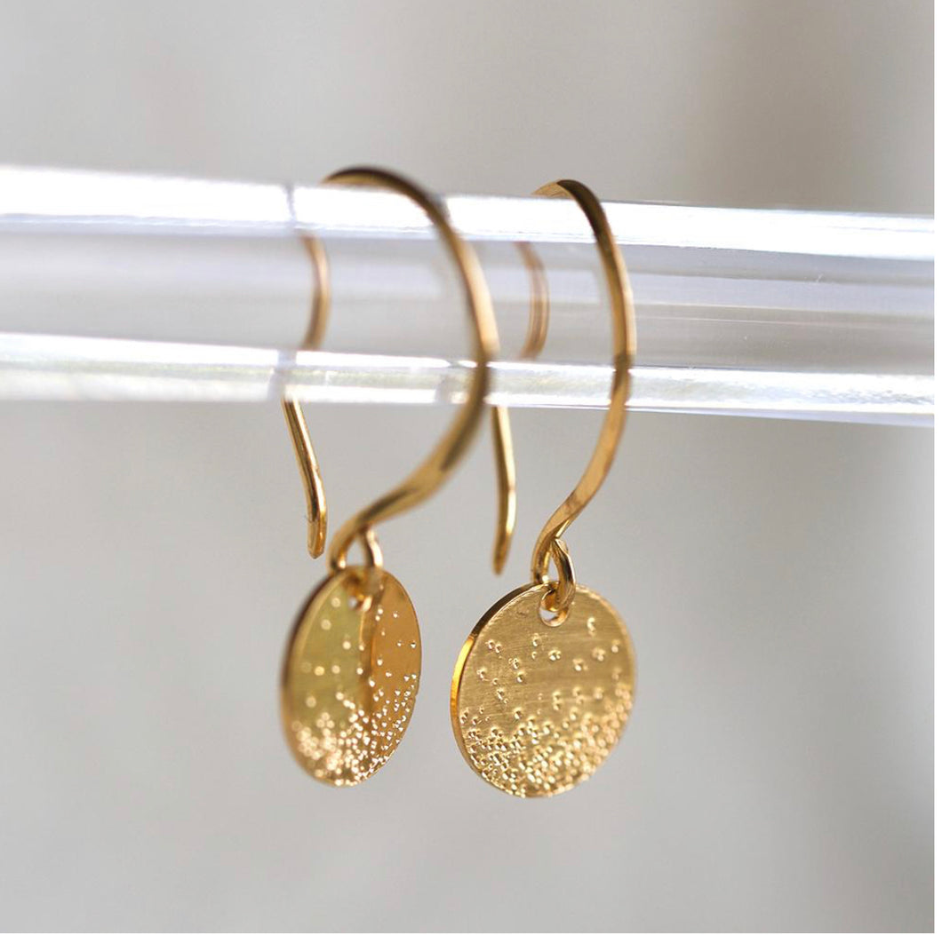 Christina Kober Gold Petite Diamond Dusted Coin Earrings