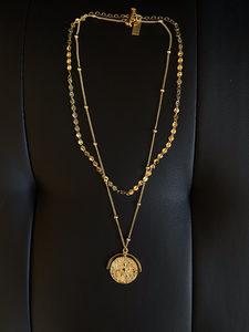 Seraphine Design Double Chain Coin Necklace
