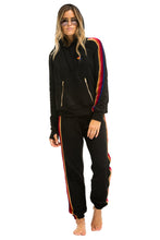 Load image into Gallery viewer, Aviator Nation Sweatpants - Black w/ Velvet Stripes