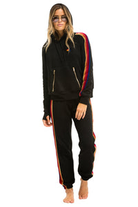 Aviator Nation Sweatpants - Black w/ Velvet Stripes