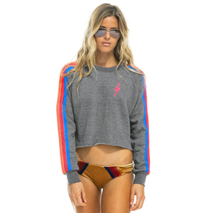 Aviator Nation Cropped Neon Rainbow Sweatshirt w/ Lightning Bolt
