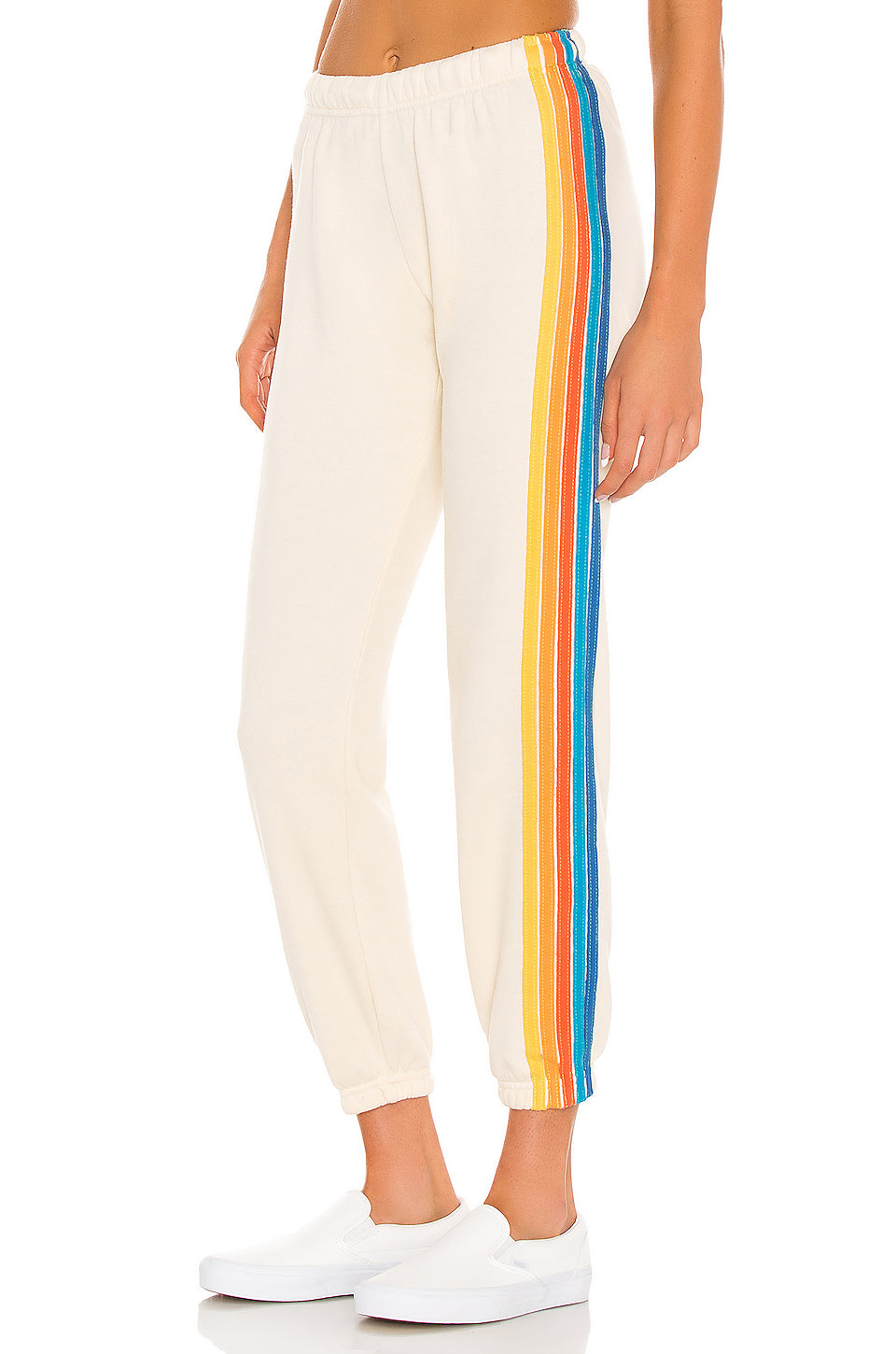 Aviator Nation Sweatpants - Vintage White/ Orange Stripes