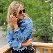 Load image into Gallery viewer, GRLFRND Cropped Distressed Denim Jacket