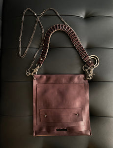 David Galan Eggplant Leather Bag