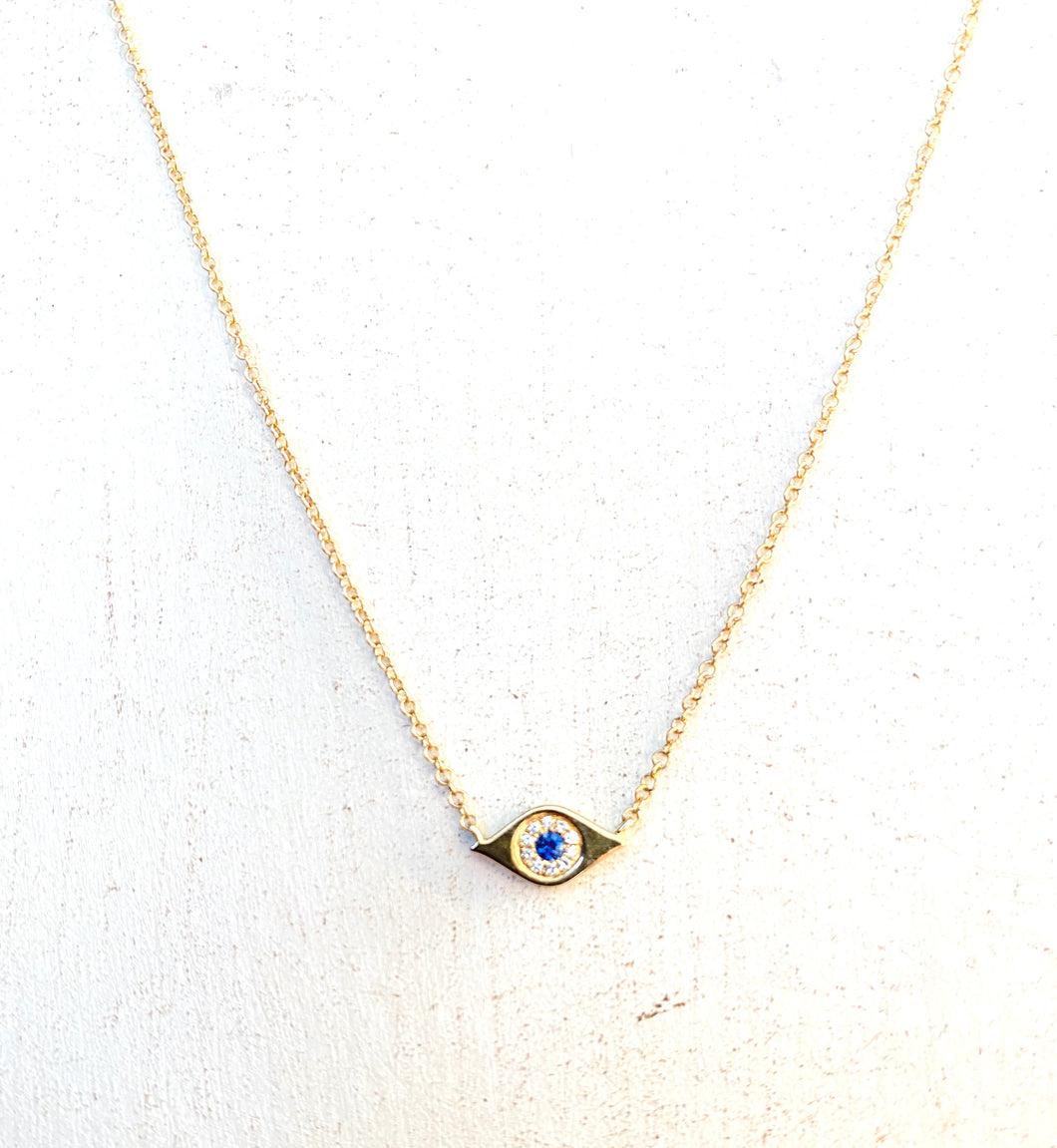 14k Gold/ Diamond/ Sapphire Evil Eye Necklace