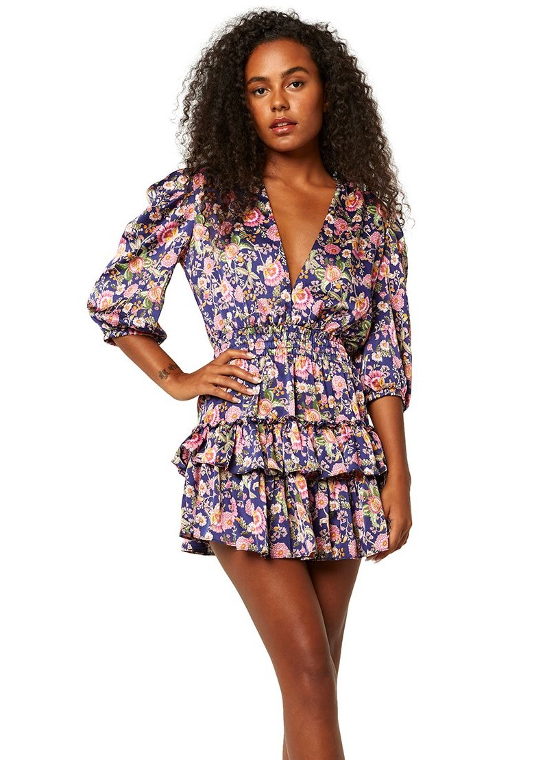 MISA Los Angeles Lilah Dress - Falaise Floral Satin
