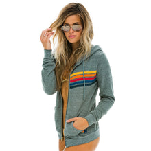 Load image into Gallery viewer, Aviator Nation 5-Stripe Grey Hoodie