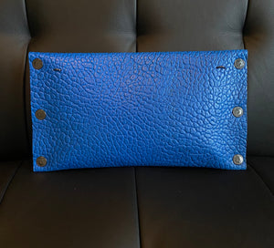 Leather Couture Electric Blue Clutch