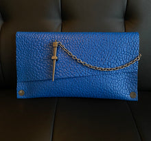 Load image into Gallery viewer, Leather Couture Electric Blue Clutch