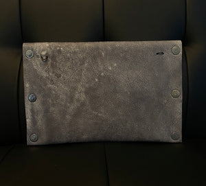 Leather Couture Grey Clutch