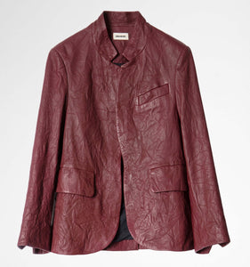 Zadig & Voltaire Verys Burgundy Leather Jacket