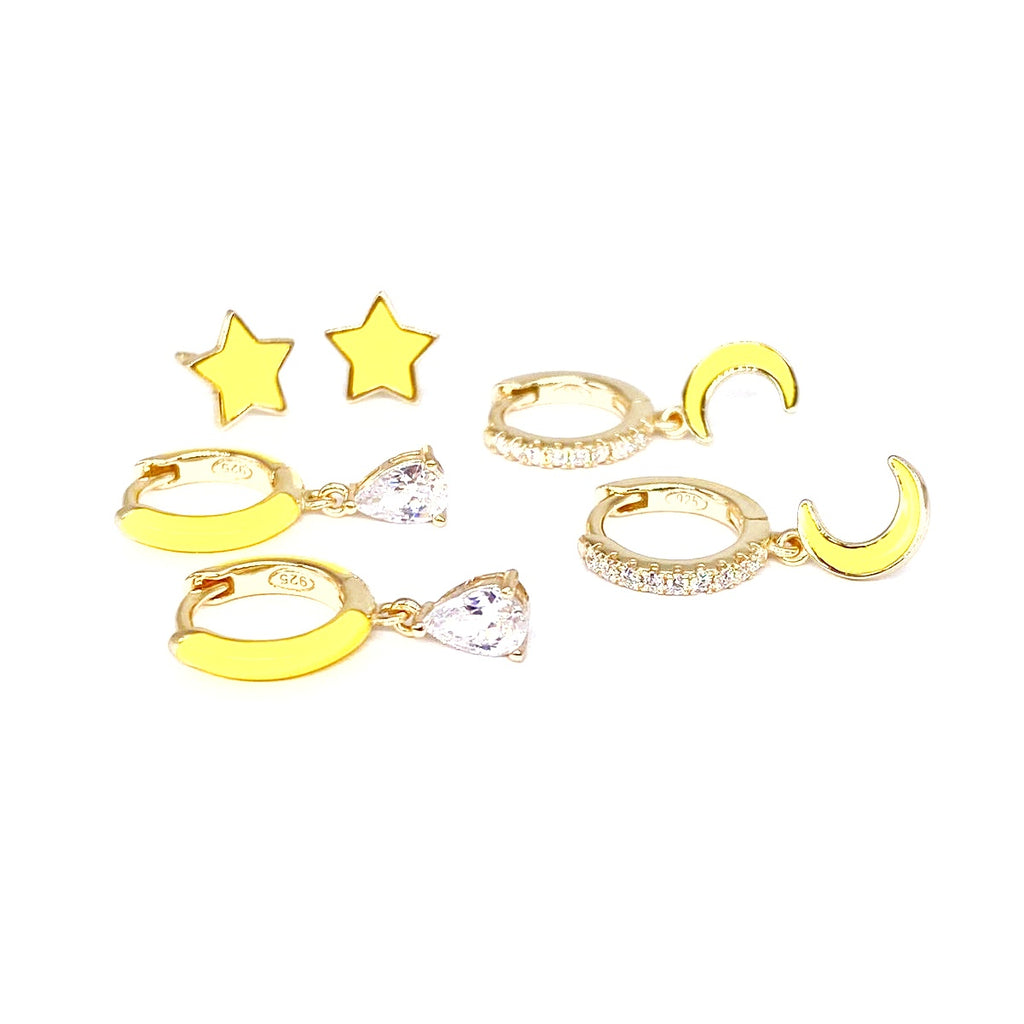 YELLOW ENAMEL EARRINGS SET