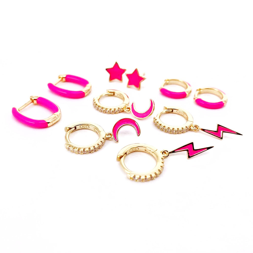 HOT PINK ENAMEL EARRINGS SET