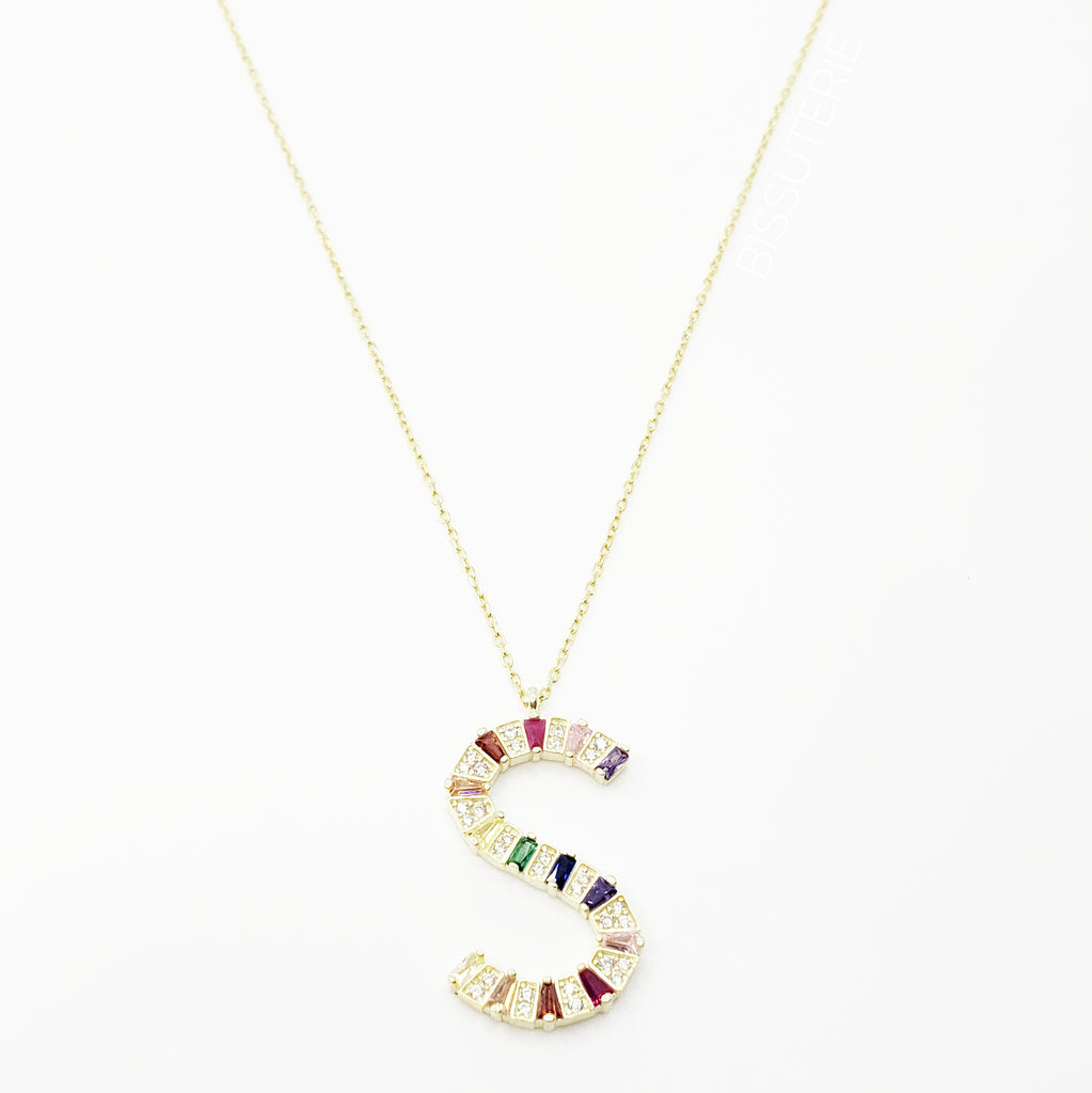 Rainbow Initial Baguette Necklace