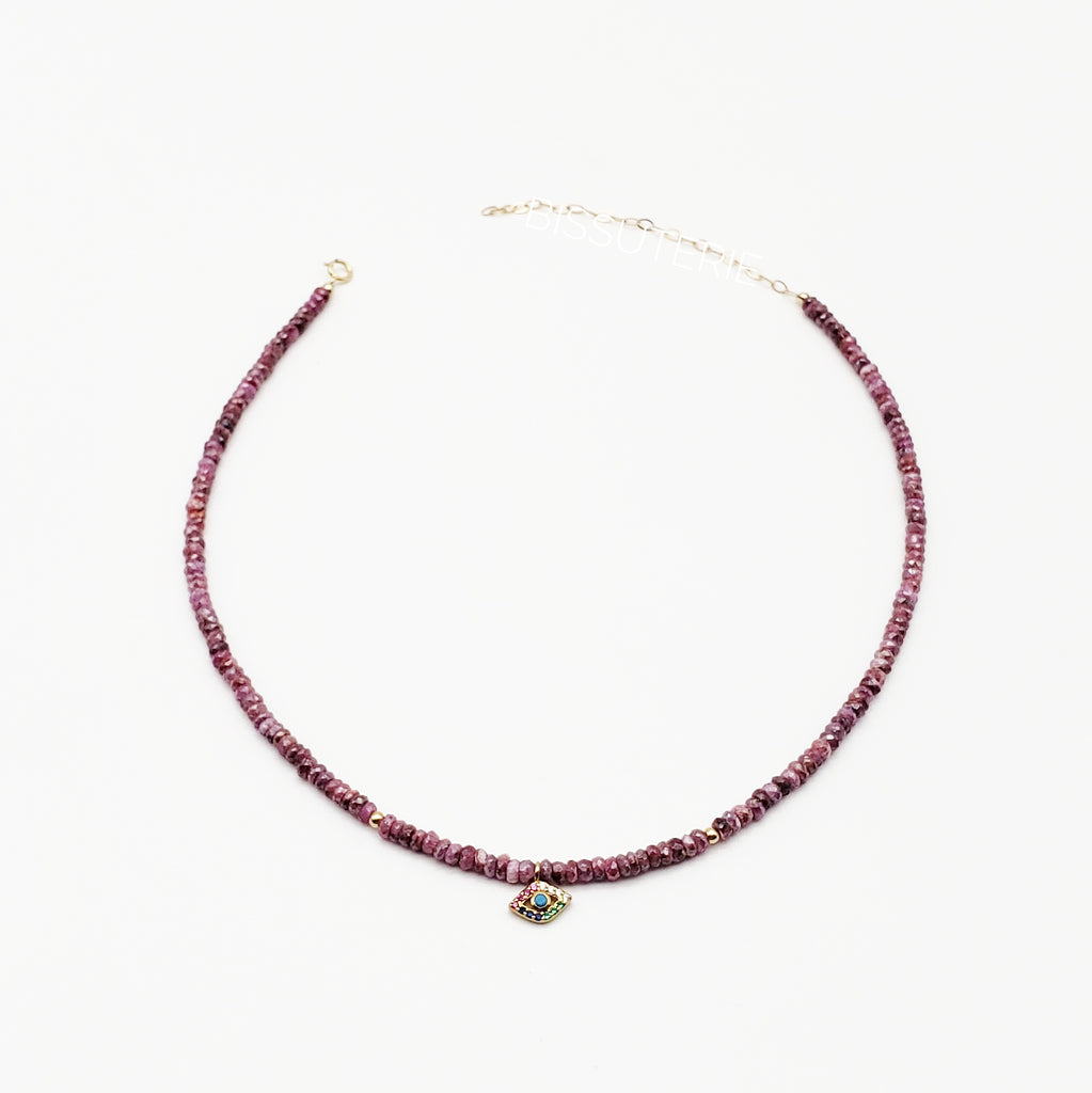 Eye Charm Purple Bead choker