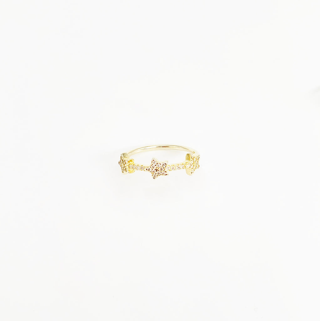 Three Mini Star Gold Ring