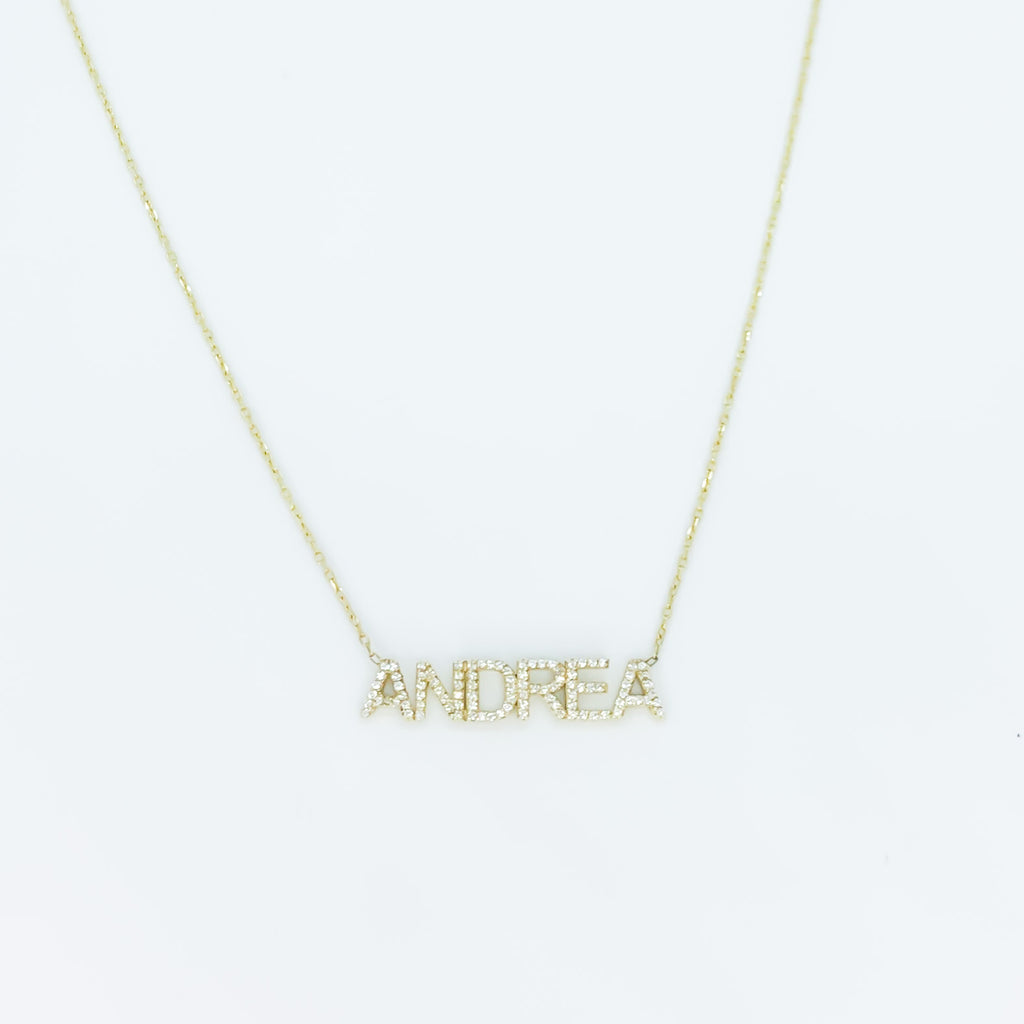 Block UPPERCASE pave name thin chain