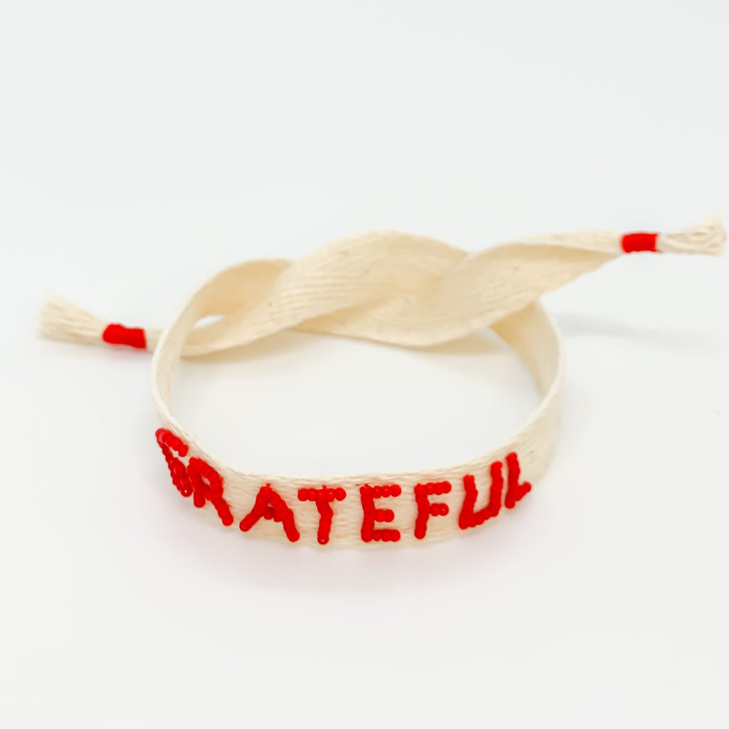 Say it Loud Bracelet (Natural Ribbon/Red Letters)