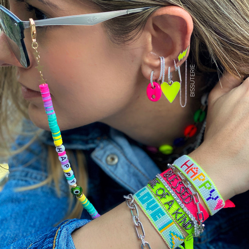 Neon earring stacks