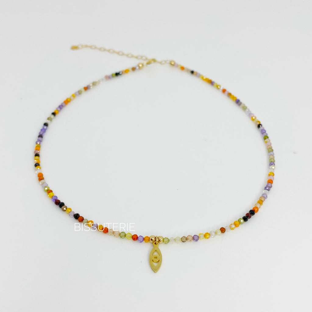 Colorful mini charm - stone choker