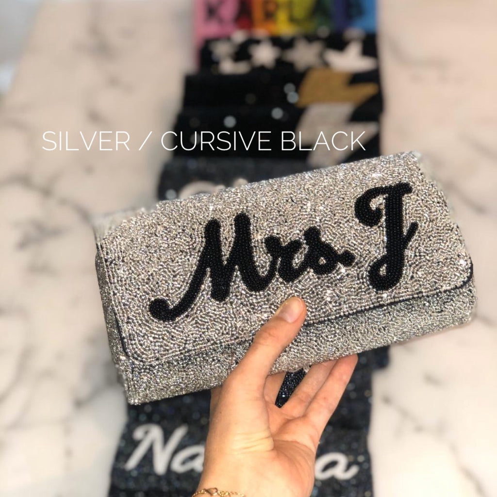 Beaded personalized clutches