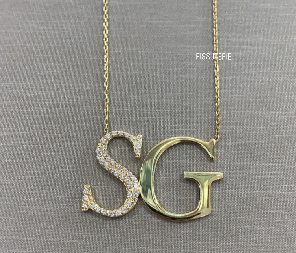 Modern monogram first letter pave