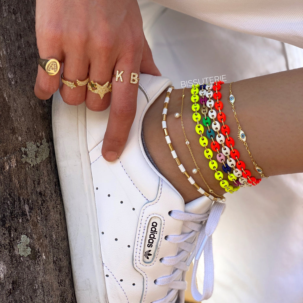 Neon button anklets