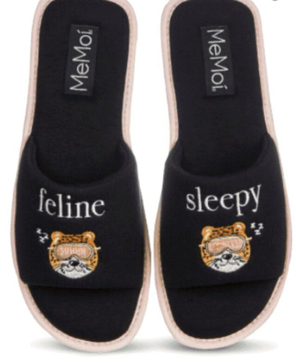 "MEMOI Back Side ""Feline Sleepy"" Slipper Trimmed in Pink - My Secret Closet - Ladies Boutique New And Consignment"