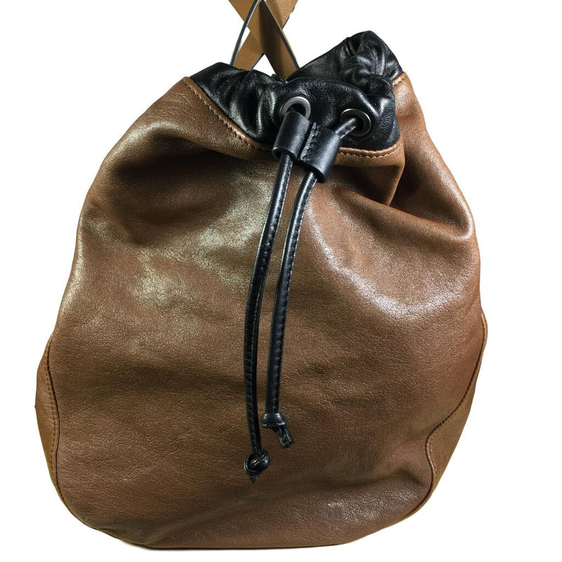 BRUNELLO CUCINELLI Brown Brunette Leather Shoulder Drawstring Tote Duffel Bag - My Secret Closet - Ladies Boutique New And Consignment