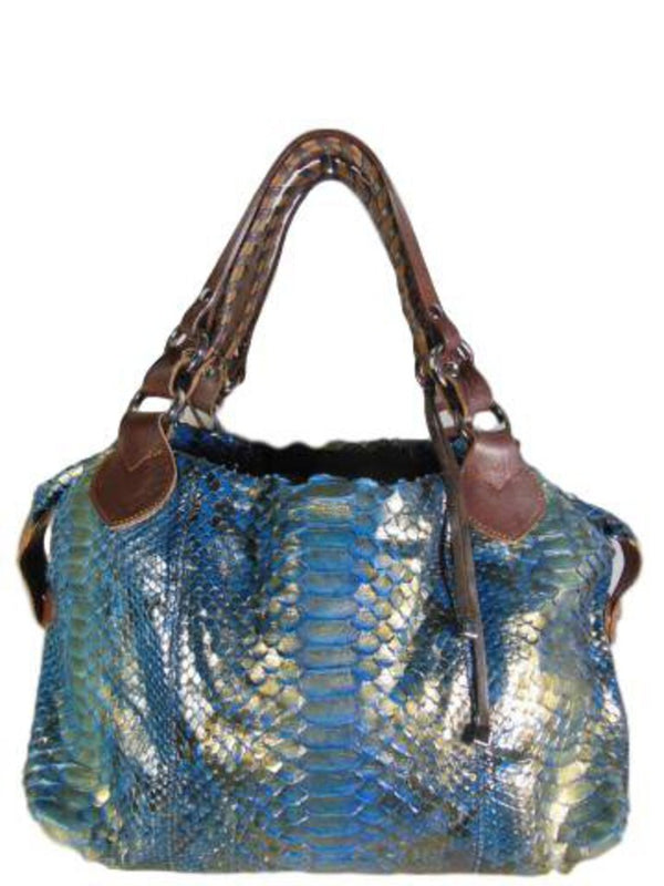 PAURIC SWEENEY Blue and Gold Metallic Shinny Python Leather Shoulder Bag