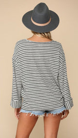 TOGETHER  Ivory and Black Boyfriend Striped Top with Folded Mid Sleeve Cuff - My Secret Closet - Ladies Boutique New And Consignment