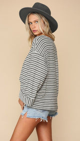 TOGETHER Ivory and Black Boyfriend Striped Top with Folded Mid Sleeve Cuff