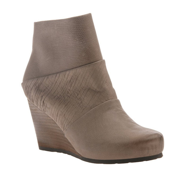 OTBT New Wedge Angle Bootie Shoe in Pecan Leather and Lizard Print