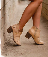 ROAN -  Peep Toe All-leather Booties with Lacing Detail in Bone - My Secret Closet - Ladies Boutique New And Consignment