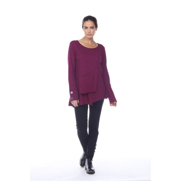 NEON BUDDHA - High Low Tunic Top in  Aubergine features Raw Edge Seams - My Secret Closet - Ladies Boutique New And Consignment