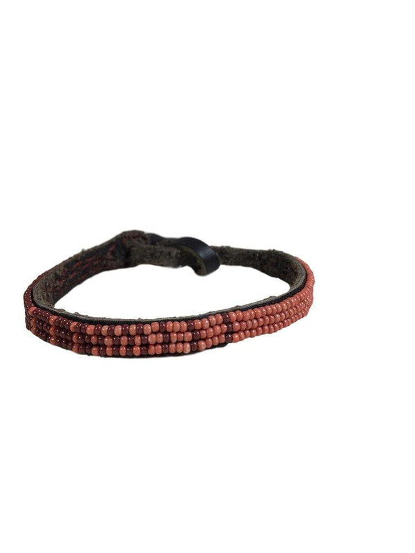 CHAN LUU Leather Bracelet in Soft Coral and Brown Seed Bead - My Secret Closet - Ladies Boutique New And Consignment