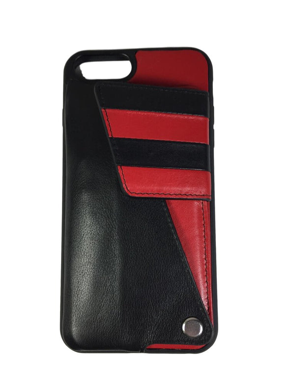 Black and Red Leather iPhone Credit Card Case