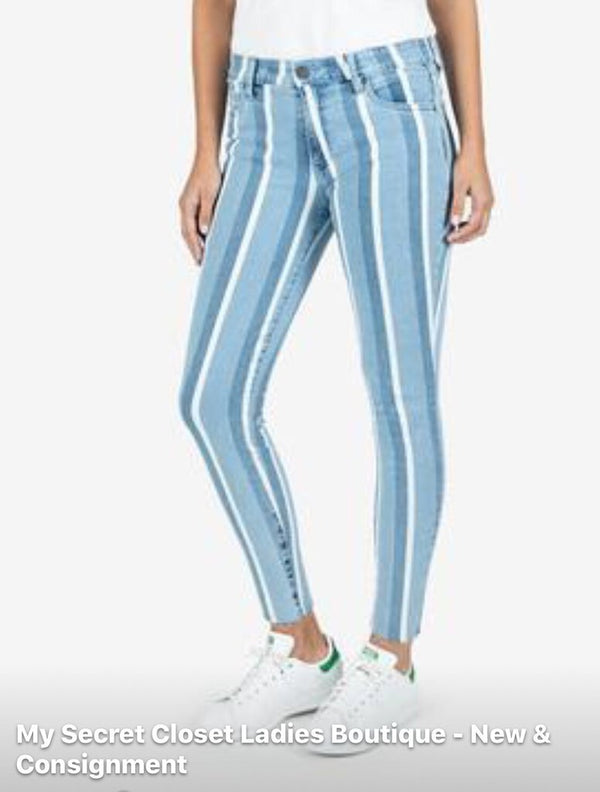 Kut Connie High Rise Ankle Wash Striped Denim Jean
