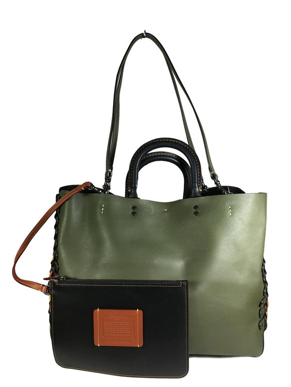 COACH Green Genuine Glovetanned Leather Shoulder Tote Bag