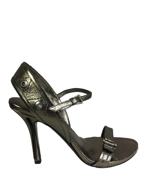 DIOR NEW Pewter Leather Shoe w/Zipper Stiletto Trim Size 37 - My Secret Closet - Ladies Boutique New And Consignment