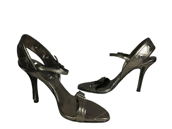DIOR Pewter Leather Shoe w/Zipper Detail Stiletto Size 37