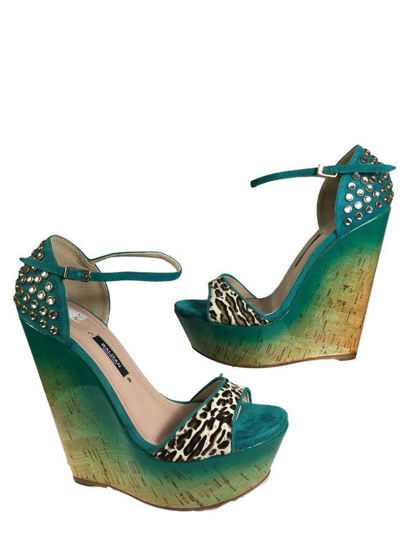 BALDAN Turquoise Suede and Leopard Pony-hair Wedge Shoe Size 37 NEW