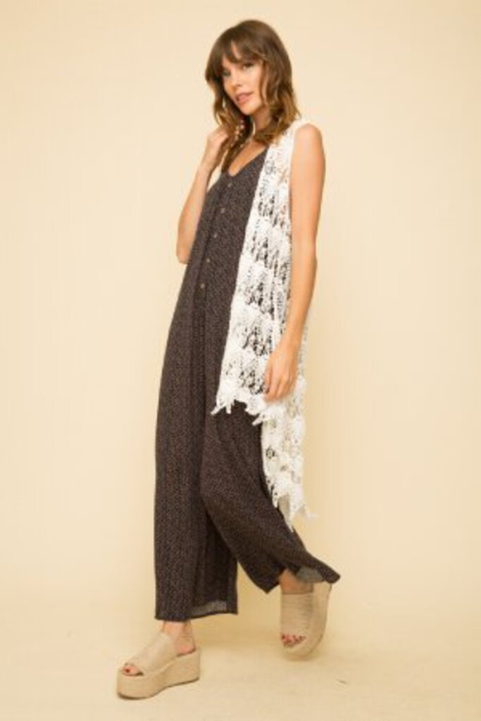 White High-low Crochet Open Face Long Vest