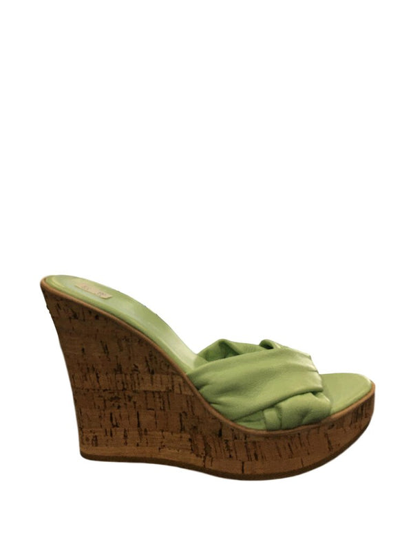 SPAGO Italian Soft Mint Green Leather Cork Wedge Sandal Shoe