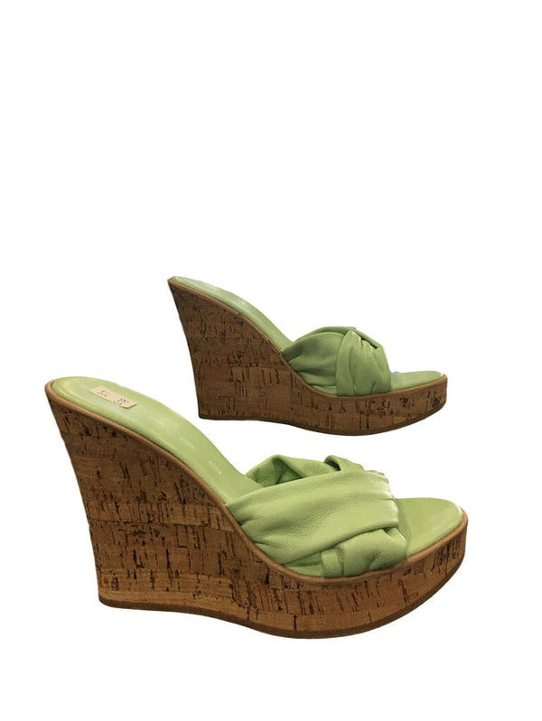 SPAGO Light Weight Italian Soft Mint Green Leather Cork Wedge Sandal Shoe